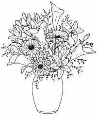 Цветы в вазе, калла, лилия, пион Раскраски с цветами распечатать бесплатно