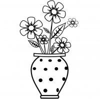 Цветы в вазе в горошек Раскраски с цветами распечатать бесплатно