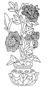 Цветы в вазе с узором Раскраски с цветами распечатать бесплатно