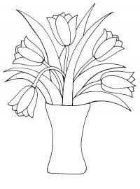 Цветы в вазе, тюльпаны Раскраски с цветами распечатать бесплатно