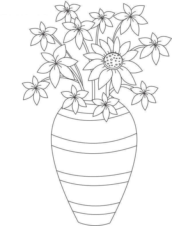Цветы в вазе Раскраски с цветами распечатать бесплатно
