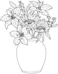 Цветы в вазе, лилии и подсолнухи