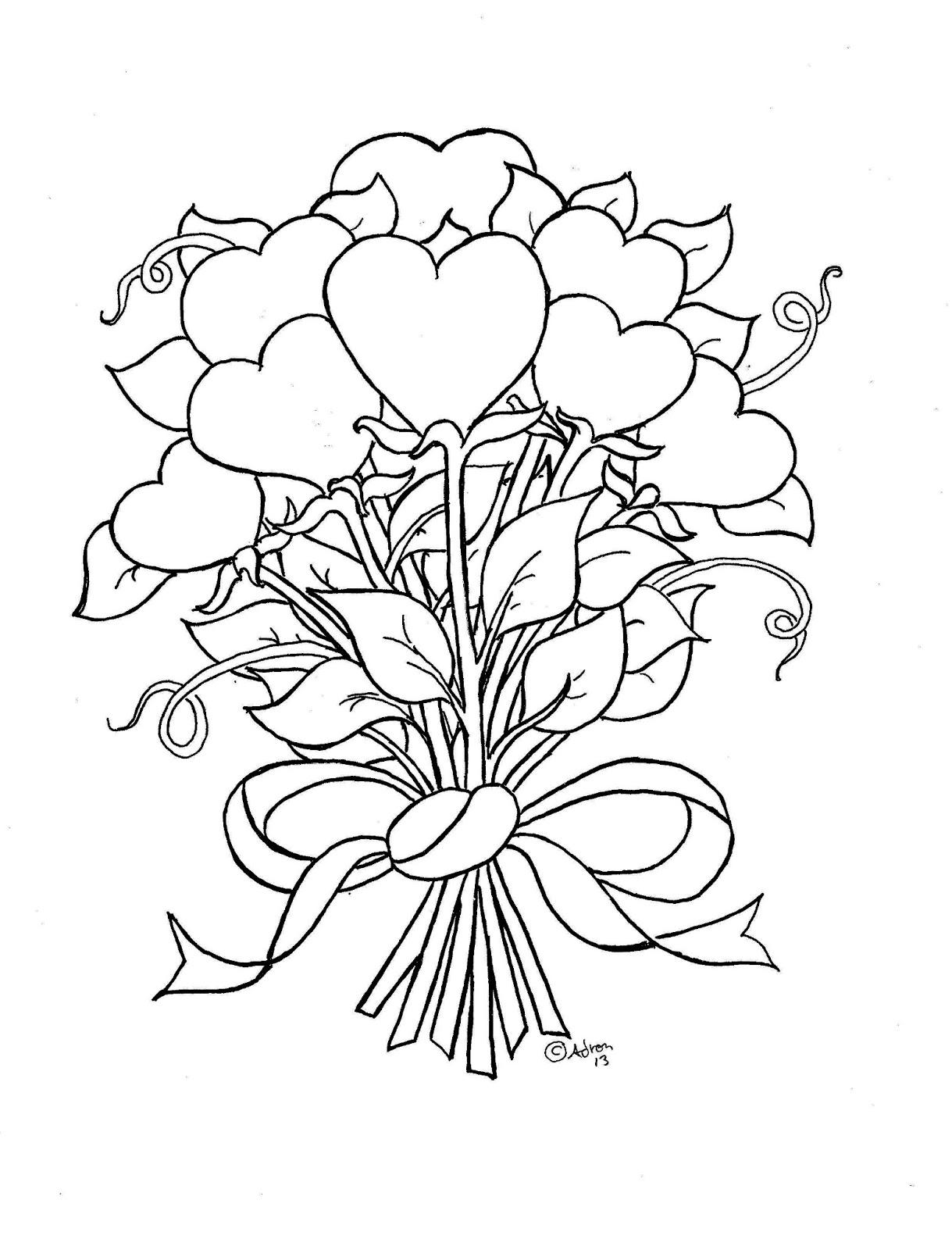 Цветы сердечки в букете Раскраски с цветами распечатать бесплатно