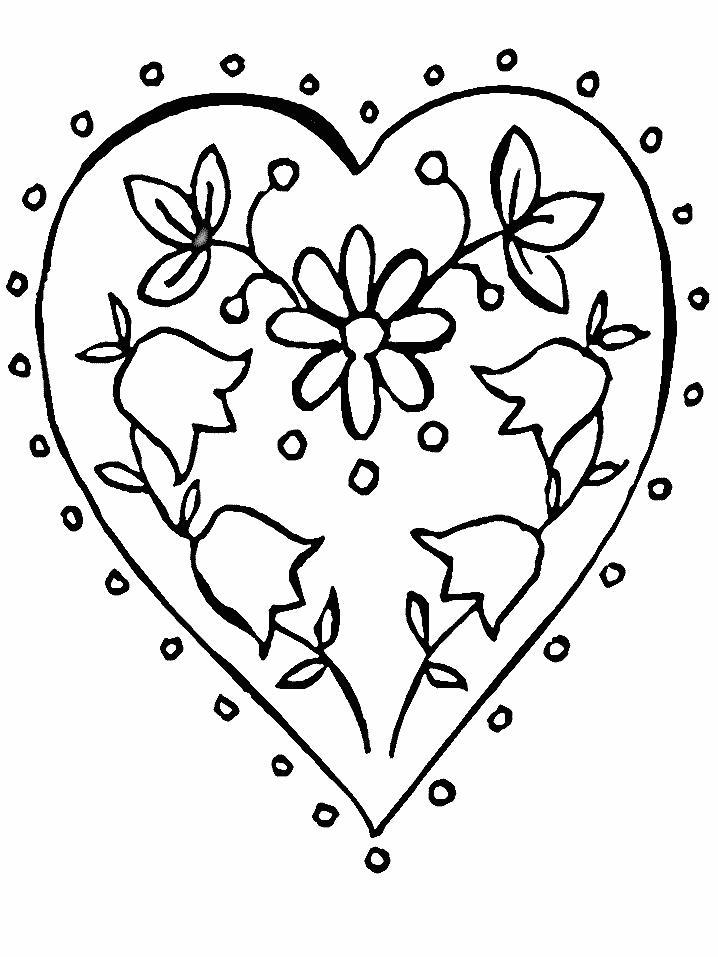 Цветы в сердце цветы раскраски онлайн бесплатно