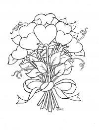 Цветы сердечки в букете Раскраски картинки цветов