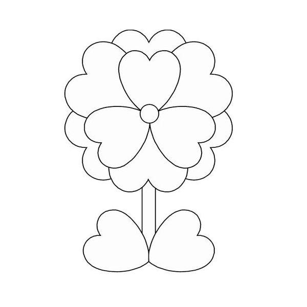 Контур цветка для поделок и аппликаций из сердечек Раскраски с цветами распечатать бесплатно