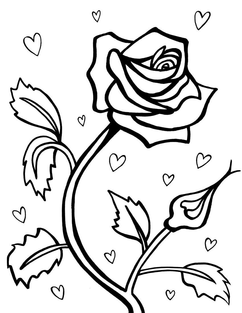 С сердечками роза Раскраски цветов бесплатно