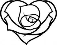 Роза в виде сердца Раскраски цветов бесплатно
