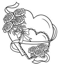 С сердечками розы, букет роз Раскраски с цветами распечатать бесплатно