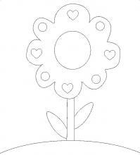 Цветок с сердечками Раскраски цветов бесплатно