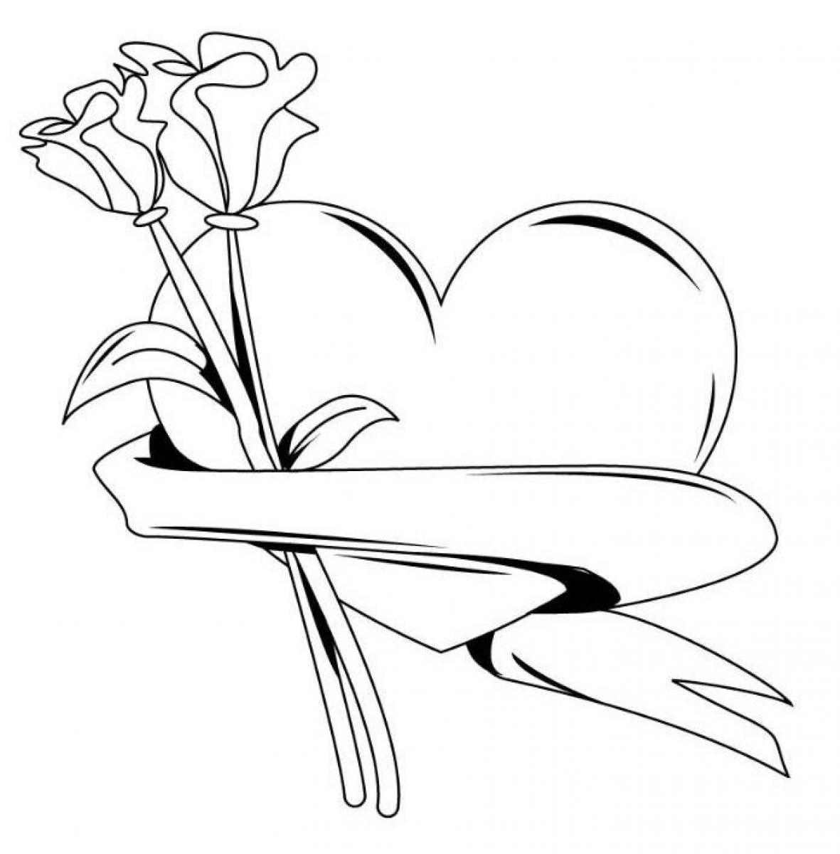 С сердечками розы Раскраски цветов бесплатно