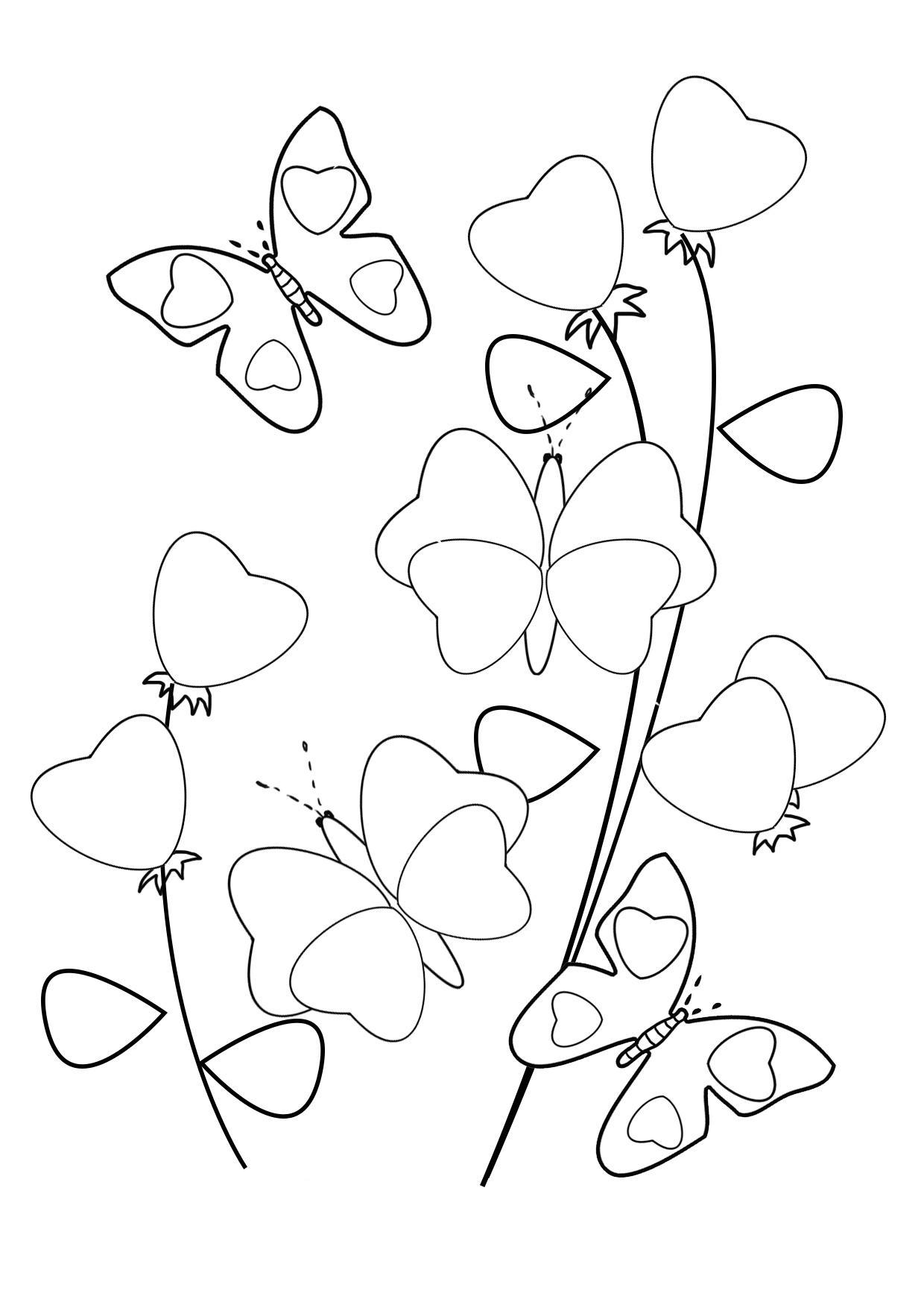 С сердечками и бабочки на цветах из сердечек Раскраски цветов бесплатно