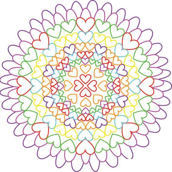 Узоры Цветок из сердечек раскраски цветы