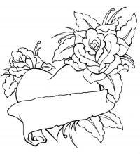 С сердечками цветы Раскраски цветов бесплатно