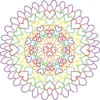 Цветок из сердечек Раскраски с цветами распечатать бесплатно