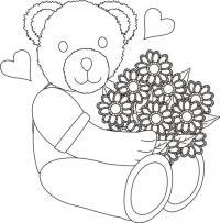Мишка с букетом цветов в сердечках Раскраски цветов бесплатно