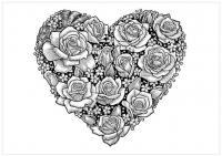 С сердечками Раскраски цветов бесплатно