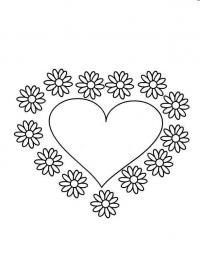 Сердце и цветы ромашки Раскраски с цветами распечатать бесплатно