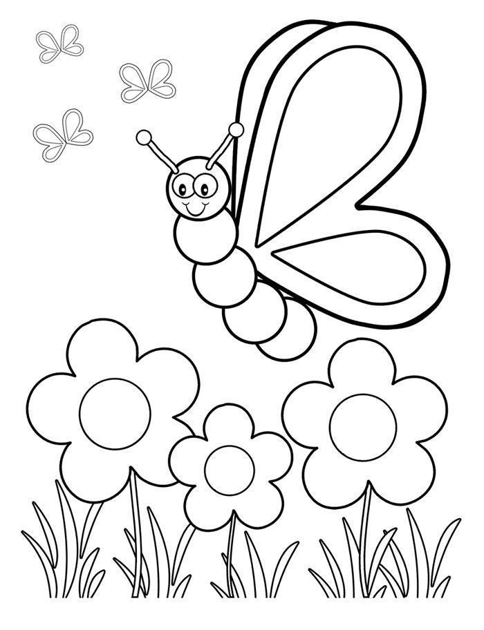 С бабочками Раскраски цветы для детей