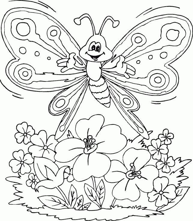 Счастливая бабочка над лугом цветов Раскраски цветы для детей