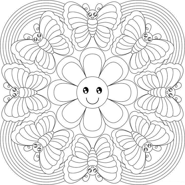 Бабочки летают вокруг ромашки, узор