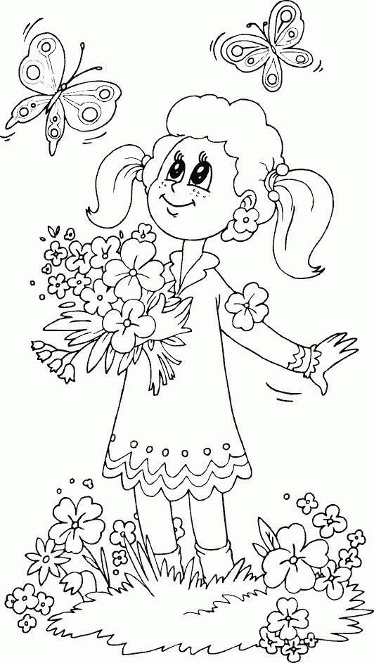Девочка на весенней поляне с бабочками Раскраски цветы для детей