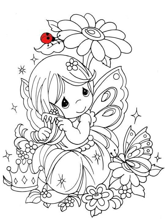 Божья коровка Девочка принцесса с бабочками Скачать и распечатать раскраски цветов бесплатнораскраски цветы