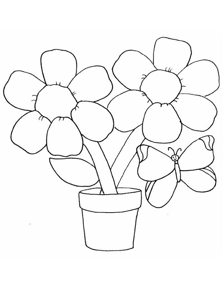 С бабочками цветы в горшке Детские цветы распечатать