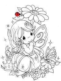 Девочка принцесса с бабочками Раскраски с цветами распечатать бесплатно