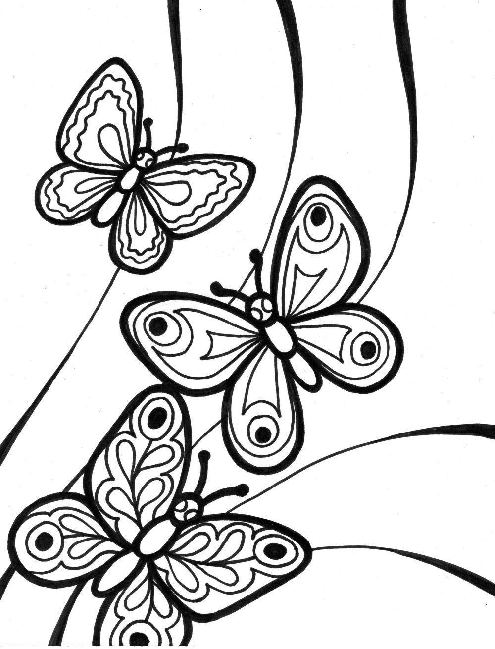С бабочками Раскраски бесплатно онлайн с цветами
