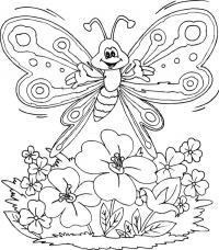 Бабочка летит над полевыми цветами Раскраски цветы для детей