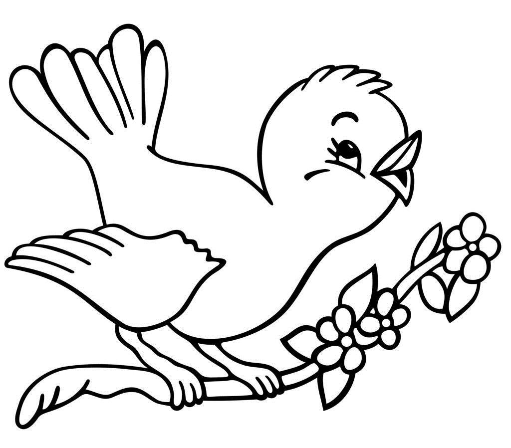 С птицами Новые раскраски цветы