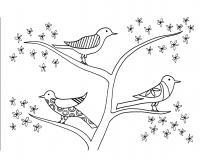 Птицы на цветущем дереве птицы с узорами Раскраски с цветами распечатать бесплатно