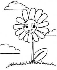 С улыбкой ромашка в облаках Скачать раскраски с цветами