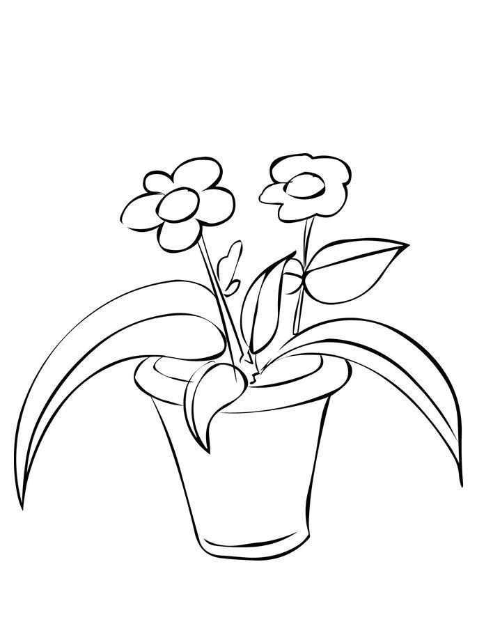 Цветы в горшке Детские цветы распечатать