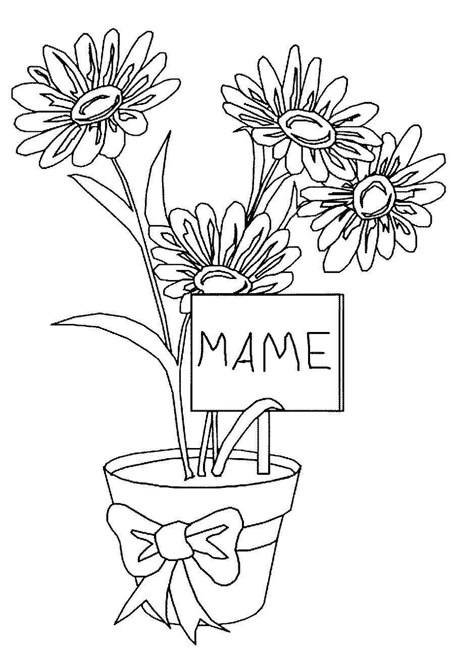 Для мамы цветы в горшке Раскраски с цветами распечатать бесплатно