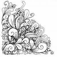Угловой узор для открытки Раскраски с цветами распечатать бесплатно