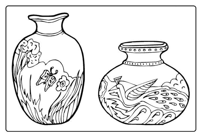 Ваза для цветов с цветочным узором Раскраски с цветами распечатать бесплатно