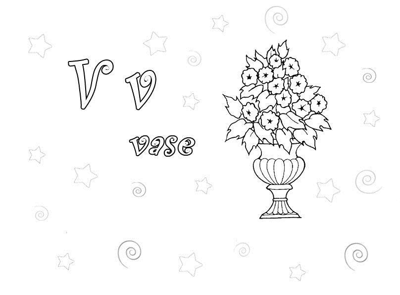 Карасивая ваза с цветами Раскраски с цветами распечатать бесплатно