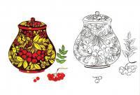 Ваза без цветов с цветочно-ягодным узором, раскрась по образцу Раскраски красивые цветы