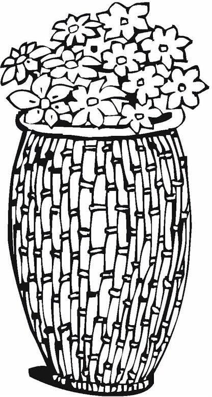 Цветы в плетеной вазе Раскраски с цветами распечатать бесплатно