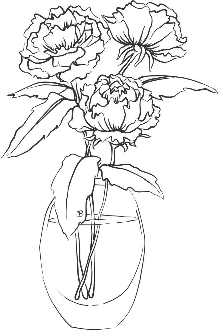 Пионы в стеклянной вазе Раскраски с цветами распечатать бесплатно
