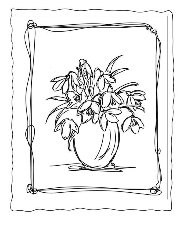Подснежники в вазе Раскраски с цветами распечатать бесплатно