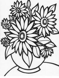 Больший цветы в вазе Раскраски с цветами распечатать бесплатно