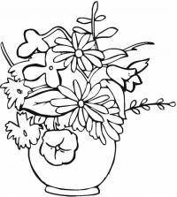 Большой букет цветов в круглой вазе Раскраски с цветами распечатать бесплатно