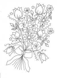 Букет цветов с бантиком и звездочками Раскраски с цветами распечатать бесплатно