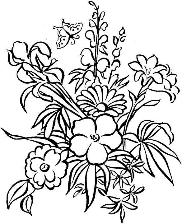 Цветы с бабочкой цветы раскраски онлайн бесплатно