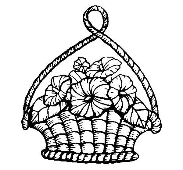 Цветы в плетеной оригинальной корзине Для детей онлайн раскраски с цветами