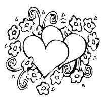 Цветы вокруг сердечек цветы раскраски онлайн бесплатно