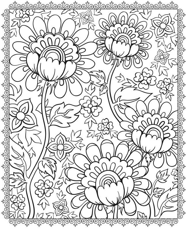 Большие цветы на узоре цветы раскраски онлайн бесплатно